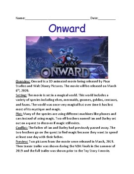 Onward - Disney Pixar Movie overview lesson facts information questions