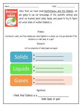 Oobleck Experiment Worksheet by Ricki Wagner | Teachers Pay Teachers