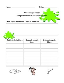 Oobleck Letter, Observation Worksheet, and Assessment