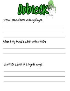Oobleck Recipe and Recording Sheet