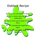 Oobleck Recipe and Worksheet