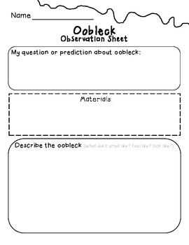 Oobleck Science Experiment: Observation Sheet