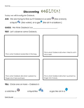 Oobleck for Elementary School grade 1-5: Observation, data  & spaceship design