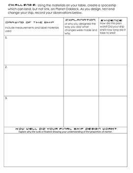 Oobleck for Elementary School grade 1-5: Observation, data  & spaceship design