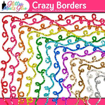 Crazy Border Clip Art | Rainbow Glitter Frames for Worksheets & Resources