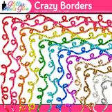 Crazy Border Clip Art {Rainbow Glitter Frames for Workshee