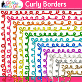 Curly Border Clip Art {Rainbow Glitter Frames for Workshee