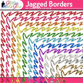Jagged Border Clip Art | Rainbow Glitter Frames for Worksheets & Resources