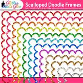 Doodle Border Clip Art {Rainbow Glitter Scalloped Frames for Worksheets}