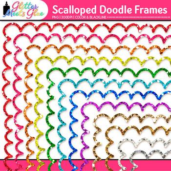 Doodle Border Clip Art | Rainbow Glitter Scalloped Frames for Worksheets