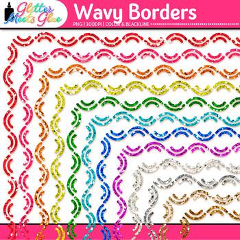 Wavy Border Clip Art | Rainbow Glitter Frames for Worksheets & Resources