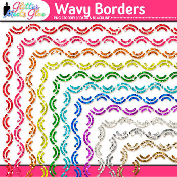 Wavy Border Clip Art | Rainbow Glitter Frames for Worksheets & Resources