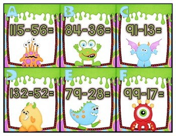 Oogy Boogy Subtraction 2&3 Digit Word Problems Place Value Method