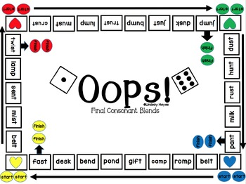 Oops: A Final Consonant Blends Game, Reading Street Unit 1, Week 6