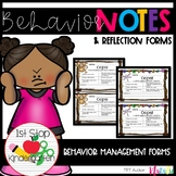 Behavior Notes for Parents and Reflection Forms