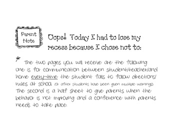 Oops Behavior notes home