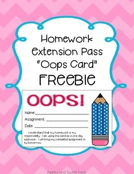 Oops Cards- Homework Extension Coupon