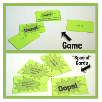 Oops! Multiplication Facts Math Card Game