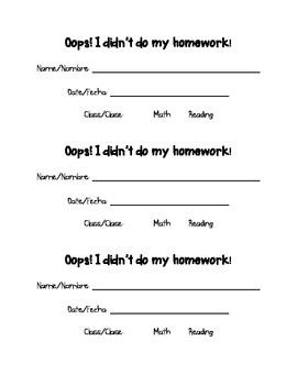 Oops! No Homework Form - Bilingual