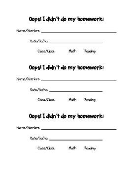 Oops! No Homework Form - Bilingual