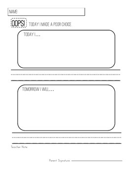 Oops! Primary Behavior Response Forms for Young Learners