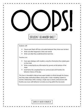 Oops! Elementary Behavior Response Sheet