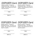 Oopsie Card!