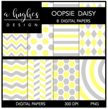 Oopsie Daisy {12x12 Digital Papers for Commercial Use}