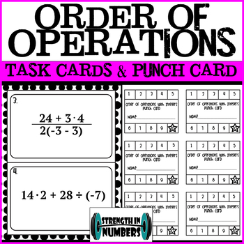 Order of Operations Task Cards with Punch Cards w/Distributive