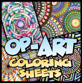 Op-Art Coloring Sheets - 100 unique designs, 2 sizes | TpT