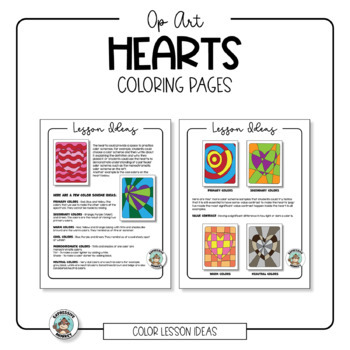 Op Art Hearts Coloring Pages | TpT