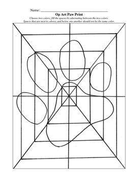 Op Art Paw Print Worksheet