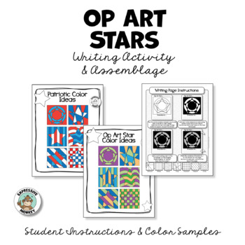 4th of July Activity: Op Art Stars Writing & Class Project