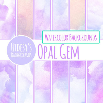 Opal Watercolor Handpainted Digital Paper / Backgrounds - Purple Clip Art Set