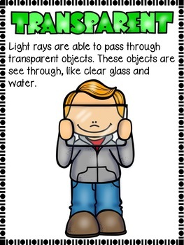 Opaque, Transparent and Translucent posters physical science light unit
