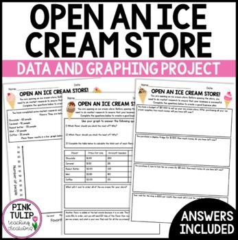 Open An Ice Cream Shop - Independent Learning Graphing and Data Maths Activity
