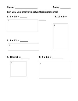 Open Arrays Multiplication Problems - 3 levels of questions - 3.OA.A.3