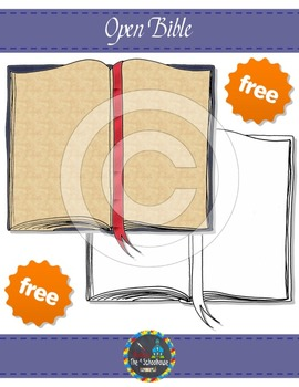 Open Bible Clipart in Color and Black & White  {FREEbie}