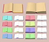 Open Book Clipart - Reading Book Icon Digital Graphics