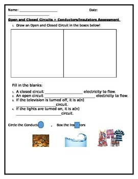Open And Closed Circuits Worksheets Teaching Resources Teachers