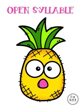Open & Closed Pineapple Syllable Sort- Orton-Gillingham Aligned