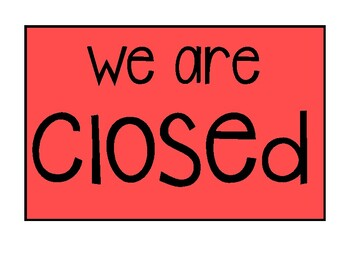 Open & Closed Store Signs for Dramatic Play