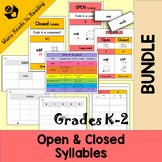 Open & Closed Syllable BUNDLE Grades K-2
