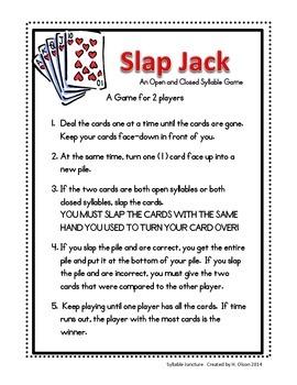 Open Closed Syllable Slap Jack