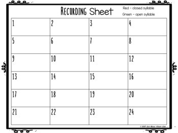 Open & Closed Syllable Task Cards