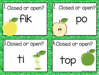 Open & Closed Syllable Task Cards - Nonsense words
