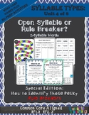 Syllable Types: Open & Closed Syllables Identify Those Pes