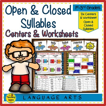 Open & Closed Syllables Center Games & Worksheets
