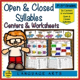 Open & Closed Syllables:  Posters, Center Games & Worksheets