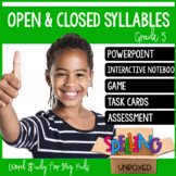 Open & Closed Syllables Spelling Word Work Unit